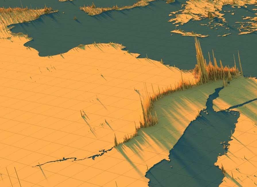 بالصور، شاهد توزع 7.8 مليار نسمة في خارطة فريدة للشرق الأوسط والعالم حسب كثافة السكان