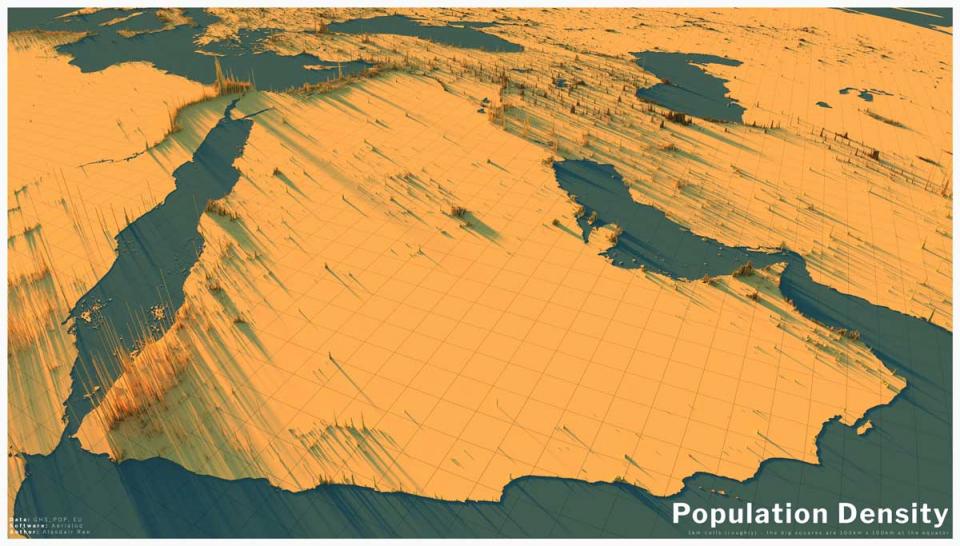 إطلاق خارطة فريدة لمدن الشرق الأوسط والعالم حسب الكثافة السكانية