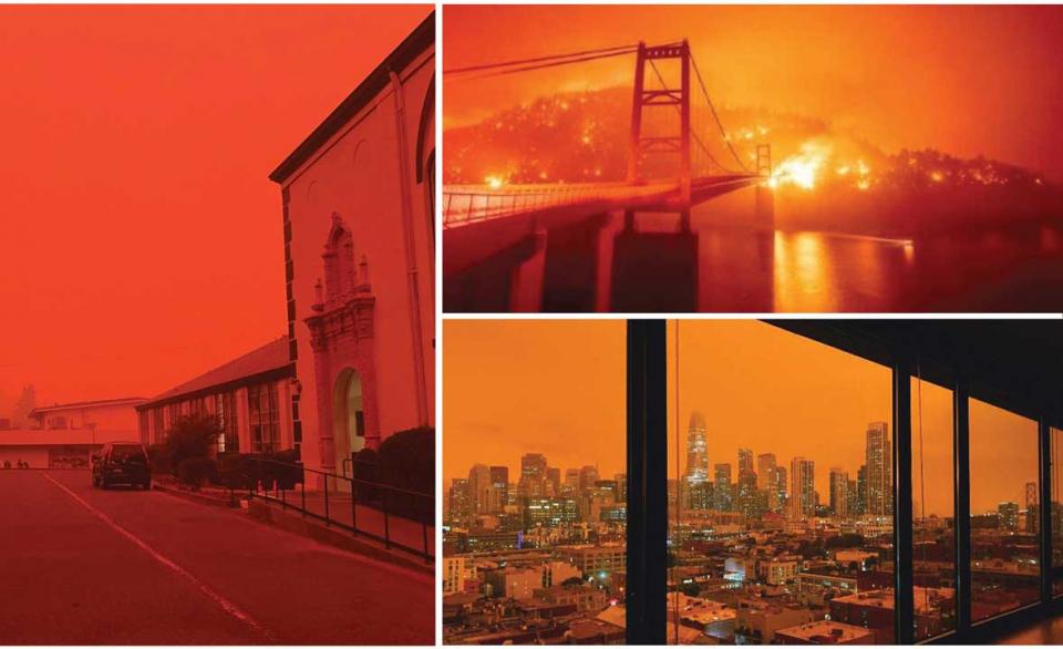 مشاهد غريبة من حرائق مدمرة قرب سان فرانسيسكو