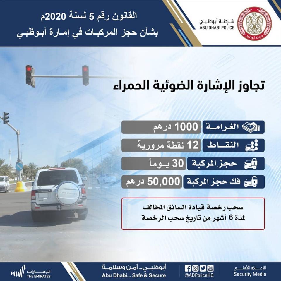 بعد دخول قانون حجز السيارات حيز التنفيذ، شرطة أبوظبي تنشر غرامات تجاوز الإشارة الحمراء